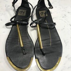 Dolce Vita black leather flat sandals